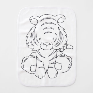 Tiger to be colored baby burp cloths