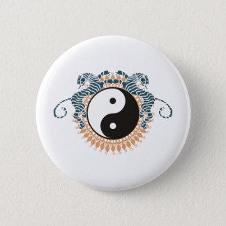 Tigers & Yin Yang 6 Cm Round Badge