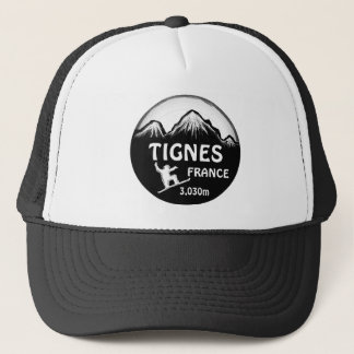 Tignes France black white snowboard art hat