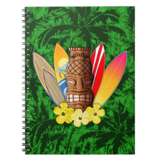 Tiki Mask And Surfboards Notebook