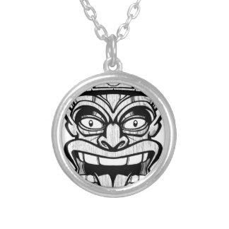 tiki mask hawaiian art silver plated necklace