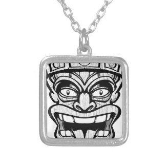 tiki mask hawaiian art silver plated necklace