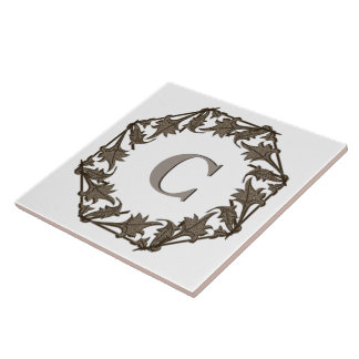 Tile - Circle of Leaves with Monogram