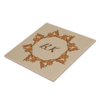 Tile - Leaves in Circle with Initials