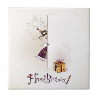 Tile  with happy birthday design