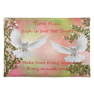 Time Flies Pigeon Message Place Mat