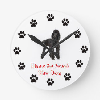 Time to feed the dog Poodle Round Clock