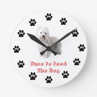 Time to feed the dog West Highland White terrier Round Clock