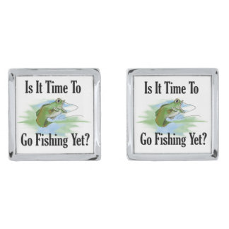 Time To Go Fishing Cufflinks Silver Finish Cuff Links
