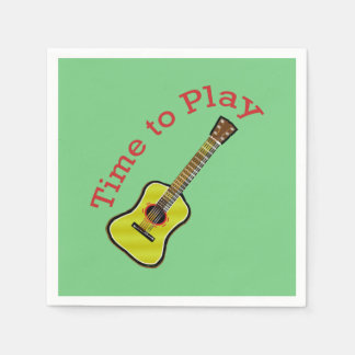 Time to Play Acoustic Guitar - Green Background Disposable Napkins