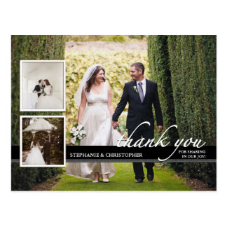 Timeless Chic Three Photo Wedding Thank You Postcard