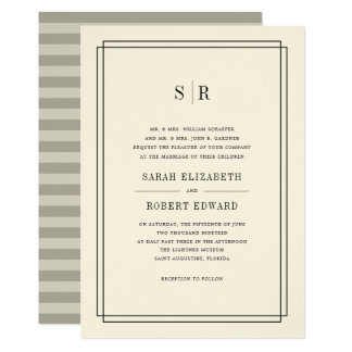 Timeless Monogram Wedding Invitation | Ecru