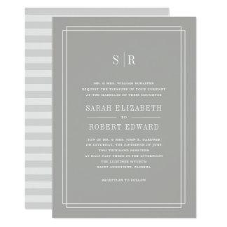 Timeless Monogram Wedding Invitation | Greige
