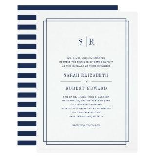Timeless Monogram Wedding Invitation | Navy