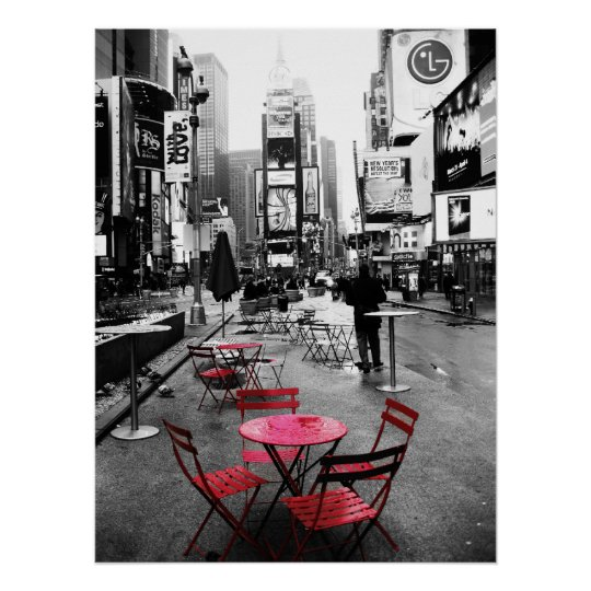 Times Square Black White Amp Red Poster Zazzle Co Nz