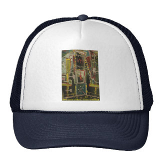 times square red wine mesh hat