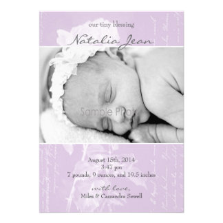 Tiny Blessing Birth Announcement//Lilac