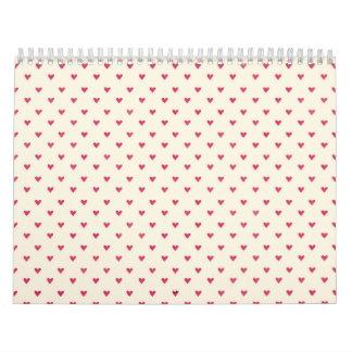 Tiny Hearts Little Red Dot Heart Print Calendars