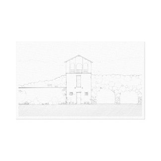 Tiny House Black & White Architecture Ink Drawing Canvas Print