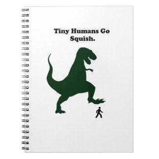 Tiny Humans Go Squish Funny Dinosaur Cartoon Notebook