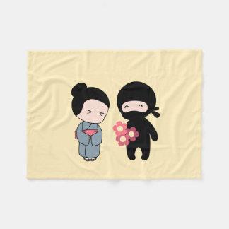 Tiny Ninja Gifting Flowers to Older Japanese Woman Fleece Blanket