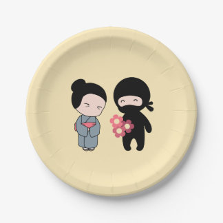 Tiny Ninja Gifting Flowers to Older Japanese Woman Paper Plate