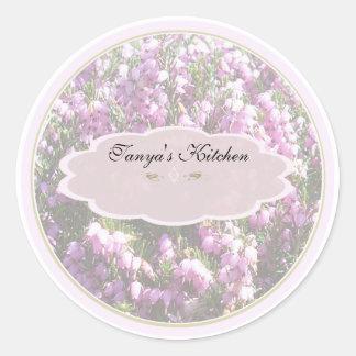 tiny pink flowers spice jar labels round sticker