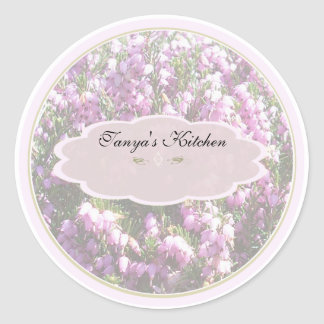 tiny pink flowers spice jar labels round sticker