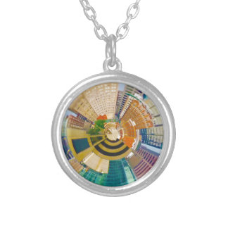 Tiny Planet Downtown Kansas City, Mo. Silver Plated Necklace