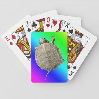 Tiny Turtle (Tortoise) & Diagonal Rainbow Gradient Playing Cards