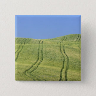 Tire Tracks in Wheat Field, Val d'Orcia, Siena 15 Cm Square Badge