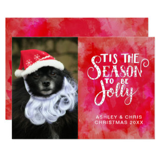 Tis The Season Red Watercolor Photo Name Christmas Card