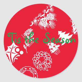 tis the season - tree round sticker