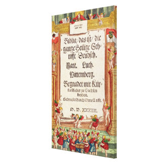 Title page from the Luther Bible, c.1530 Canvas Print