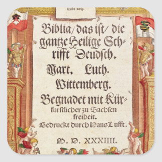 Title page from the Luther Bible, c.1530 Square Sticker