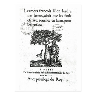 Titlepage of the first French-Latin dictionary Postcard