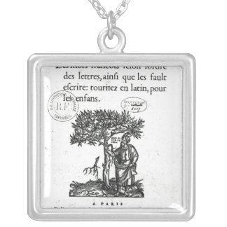 Titlepage of the first French-Latin dictionary Silver Plated Necklace