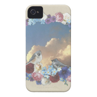 titmouse couple in floral wreath iPhone 4 cases