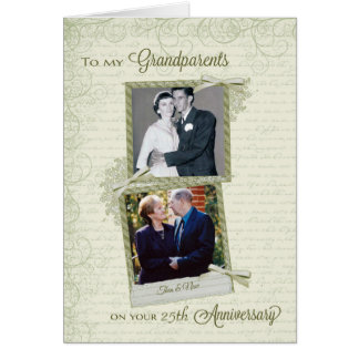 Wedding Anniversary Gifts For Parents Nz : To Grandparents on _th Anniversary-Custom Then&Now Greeting Card