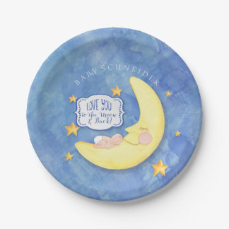 To The Moon and Back Stars Typography Baby Shower 7 Inch Paper Plate