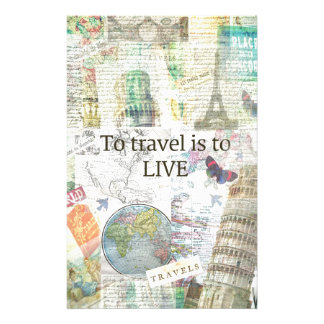 To Travel ls To Live quote Customised Stationery