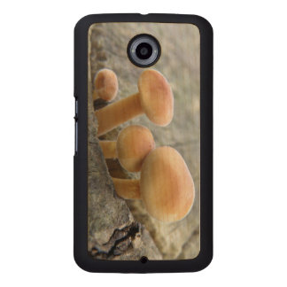 Toadstools on a Tree Trunk Wooden Phone Case