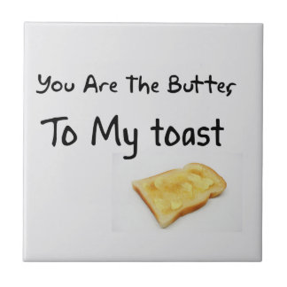 Toast Bread Love Words Small Square Tile