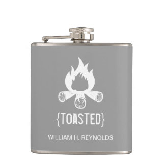 {TOASTED} Bridal Party Toasted Campfire (grey) Flask