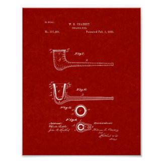 Tobacco Pipe Patent - Burgundy Red Poster