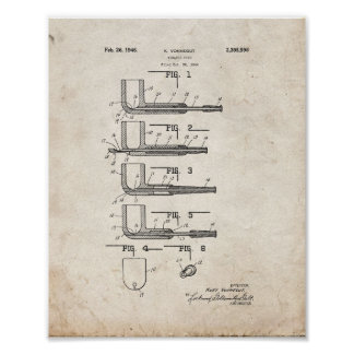 Tobacco Pipe Patent - Old Look Print