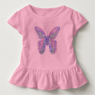 Toddler Pink Butterfly Ruffle Tee