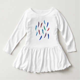 Toddler ruffle dress with watercolor feathers
