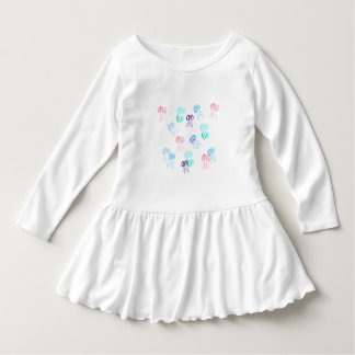 Toddler ruffle dress with watercolor jellyfishes