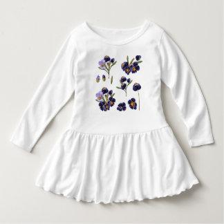 Toddler white Dress with Folk art